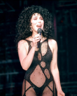 Cher dressed in a black see through costume. She is always sexy and savvy.
