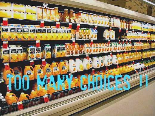 My supermarket choices of orange juice.