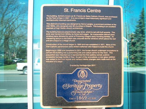 Heritage plaque, St Francis Centre, Ajax