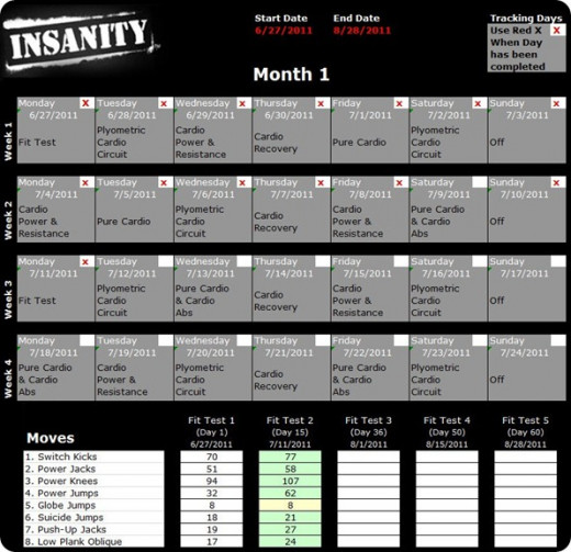 Beachbody Insanity Workout Calendar