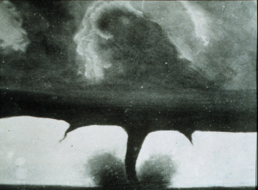 This is one of the oldest known photos of a tornado. The picture was taken August 28, 1884. 22 miles southwest of Howard, South Dakota. Four people were died during this killer storm.