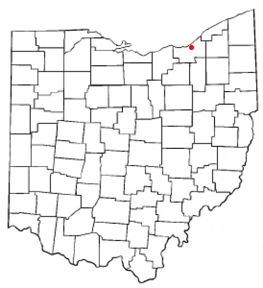 The little red dot points to Cleveland, Ohio.