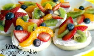 This is a mini cookie version of fruit pizza, just make cookies instead of using a large pizza pan. Use the same cream cheese and whipped topping mixture in the recipe below and add fruit.
