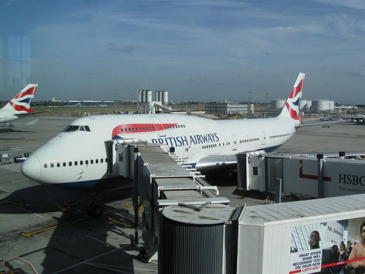 A photo of one of the British Airways planes.