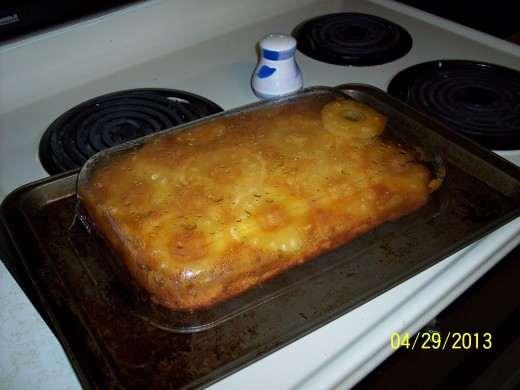 A view with the baking dish still over the top. And one pineapple slice that just didn't want to let go...