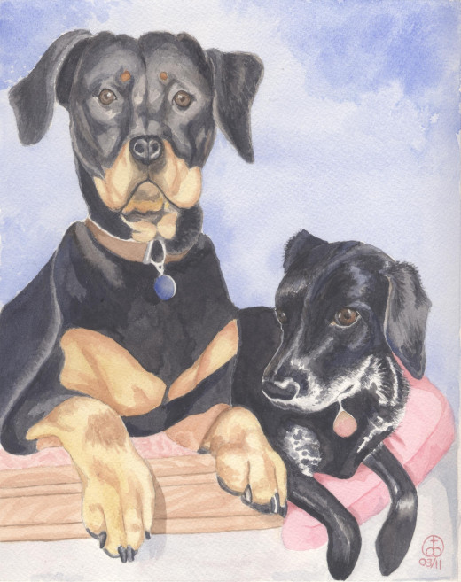 Tyler's Doggies, watercolor 10 x 8""