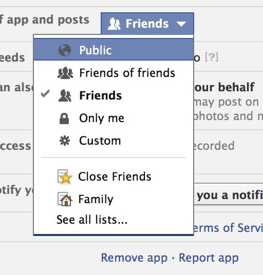 Facebook App Privacy Settings
