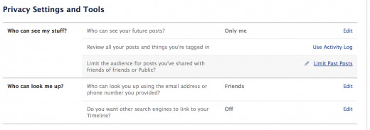 Facebook Content Privacy Settings