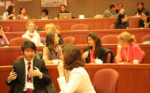 Harvard Business School students at conference