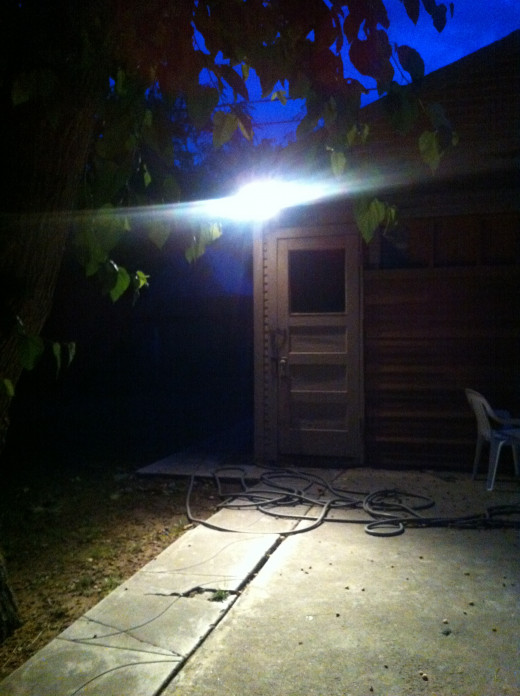 The same motion activated flood lamp turned on.