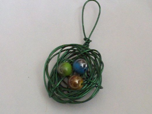 green wire with iridescent beads