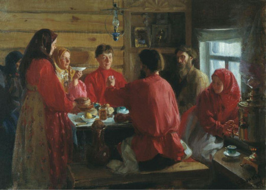 In a Peasants House by I. Kulikov
