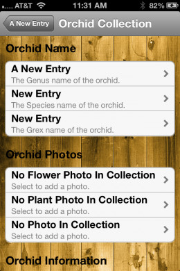 One of many data entry screens in the Orchid Notebook app.