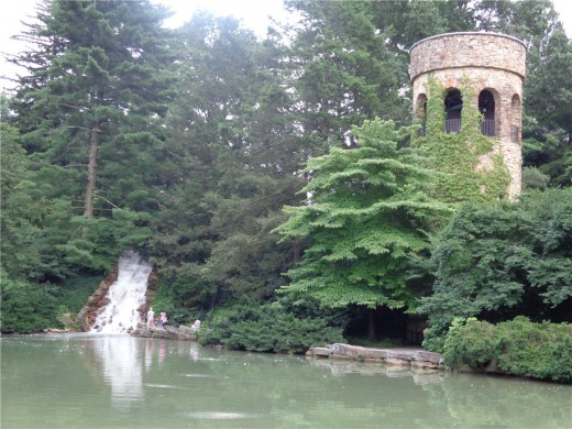 Longwood Gardens Chimes Tower and Waterfall