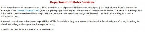 "Figure 3. ""Department of Motor Vehicles"" text on the FTC website."