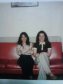 Fall, 1977.  Tina (this writer) on left; and pen pal Nancy (on right). Visiting friends at Johns Hopkins Medical School in Baltimore, MD.