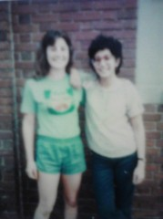 August, 1980.  Pen Pal Nancy (on left) visiting Tina (this writer) on right  in Baltimore, MD where this writer attends nursing school.