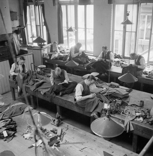 The work room at Henry Poole & Co. in 1944