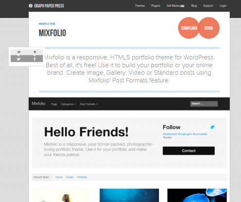 The Mixfolio theme was developed to display photos and graphics.