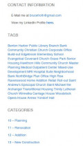The sidebar at the right column of posts and static pages provides useful information and additional navigation options.