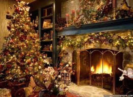 Often, using a variety of colors on a Christmas tree can make it look cluttered and unorganized. However, this tree, along with the greenery around the fireplace, looks gorgeous. It really brings out the Christmas spirit.