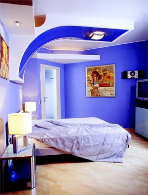 blue interior bedroom