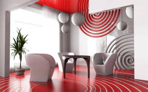red interior circle design
