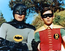 Adam West and Burt Ward as TVs Batman and Robin.