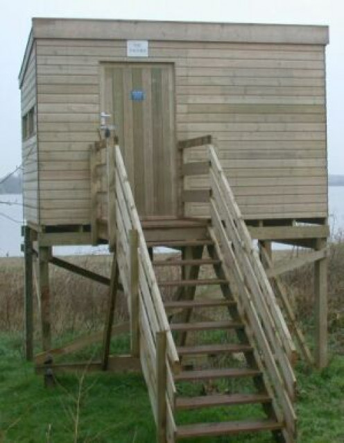 Bird hide at the West Midland Bird Club in England. Do you know what a bird hide is?  (See capsule 'The serious side.')