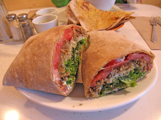 Vegan options don't have to lack taste.  Pictured: whole wheat vegan wrap sandwich.