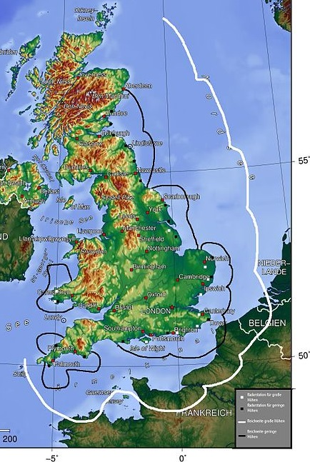 White line - range limit of British high-altitude radar; Black line - range limit of British low-altitude radar