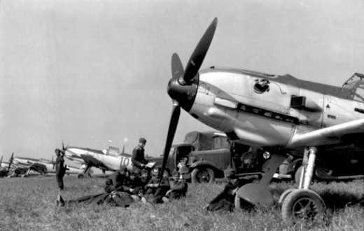 This is an actual historical photo of Messerschmidts in France in August 1940, ready to launch into the Battle of Britain. But as soon as they got into the air, they would be spotted by the English secret weapon: radar.