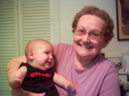 Still plenty of love for babies, even in her 80s!