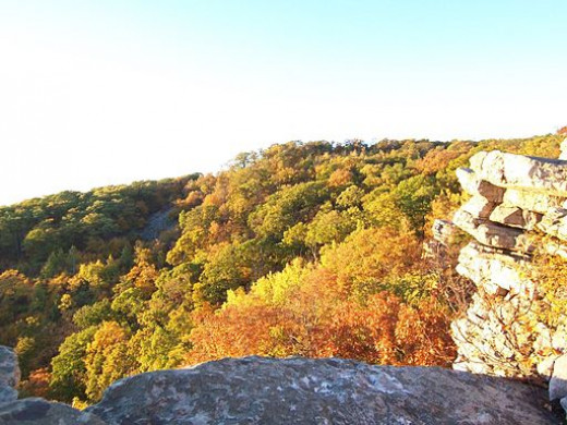 Black Rock Cliffs was very similar to the nearby Annapolis Rocks which is shown in this picture. Both are viewpoints created by rock outcroppings along South Mountain In Maryland.