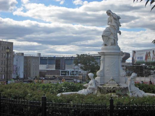 Lorelei Fountain in Joyce Kilmer Park overlooking Yankee Stadium