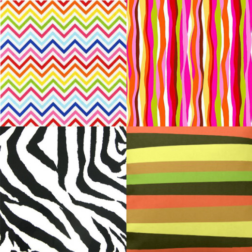 zigzags, wavy, zebra and irregular
