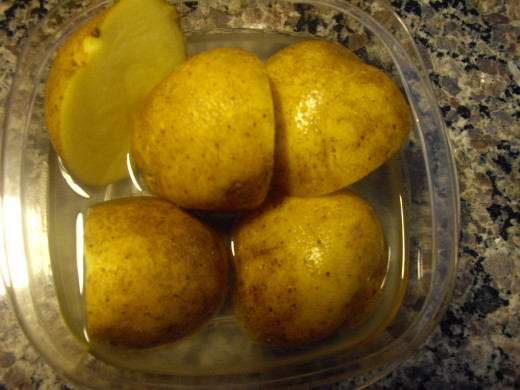 The potatoes, ready to be cooked in the microwave. I like shortcuts!