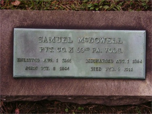 Samuel Lea McDowell's gravestone at Chartier's Cemetery.