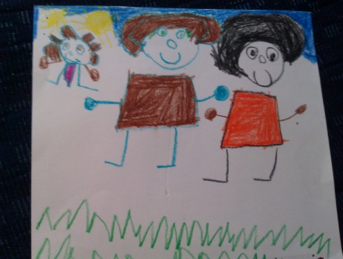 This was our family, as drawn by my child in preschool: my mother (black hair), me (brown hair), my then 3 year old.
