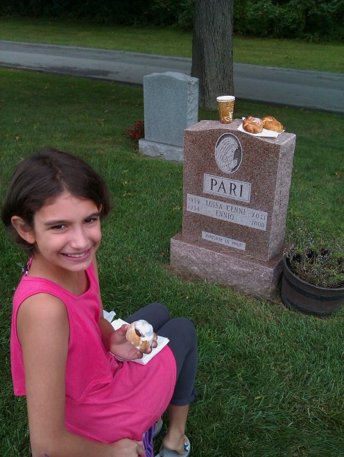 One of the ways we try to honor my deceased Mother is to bring her favorite breakfast to the cemetery.
