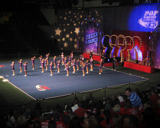 The Pop Warner Cheerleading squad competes onstage at Disney World in Orlando, Florida every year.