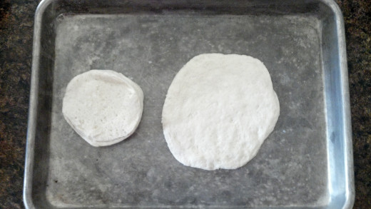 Biscuit out of the package (L), Biscuit after being pressed flattened out (R)