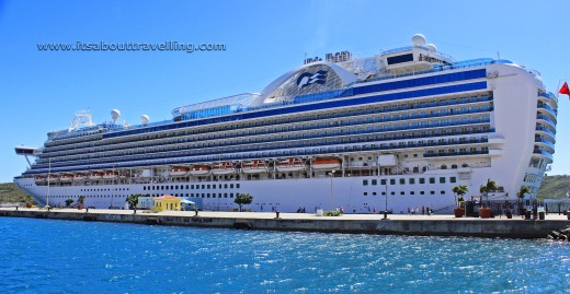 The Ruby Princess docked at Charlotte Amalie on the Island of St. Thomas in the U.S. Virgin Islands.