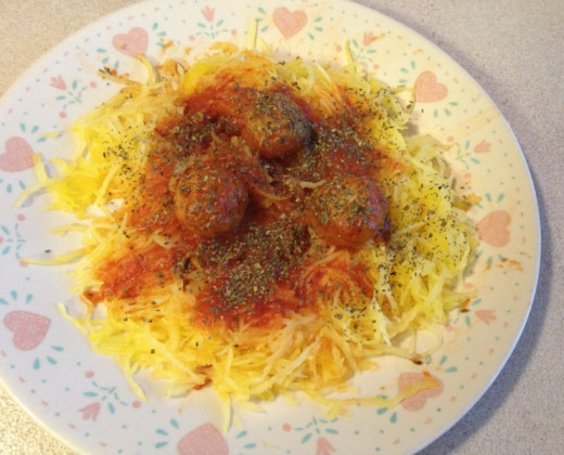 Mock Spaghetti (Made From Spaghetti Squash) with Meatballs