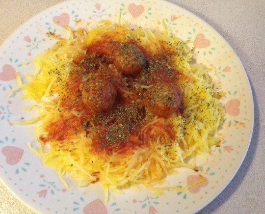 Mock Spaghetti (Made From Spaghetti Squash) with Meatballs