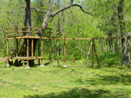 Our youngest son's tree house and play area.