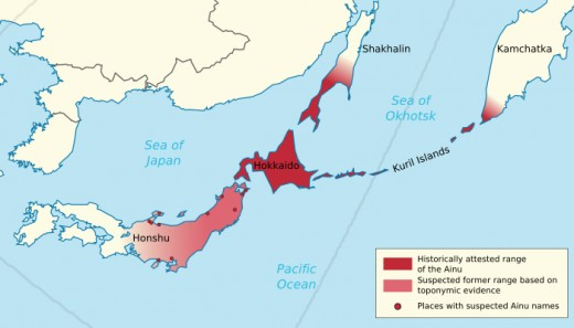 This graphic depicts the territories known to have been occupied by the Ainu historically.