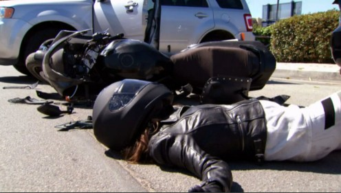 I didn't see you says the driver that hit Steffy on her motorbike.  Steffy is unconscious on the road next to her bike.