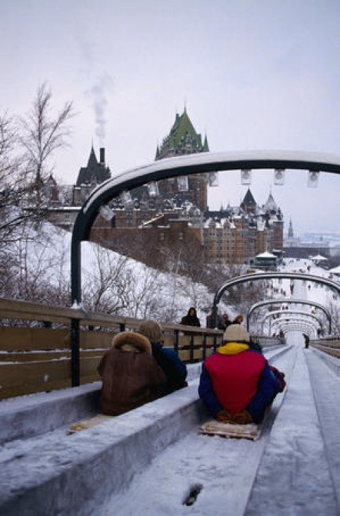 Tobogganing by the St Lawrence River