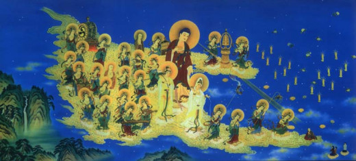 Drawing of Amitabha accompanied by Various Saints to fetch the deceased to the Pureland